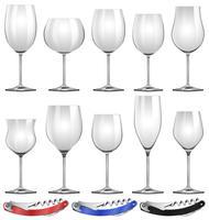 Bicchieri da vino e apriscatole vettore