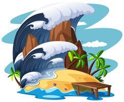 Tsunami sulla scena dell'isola vettore