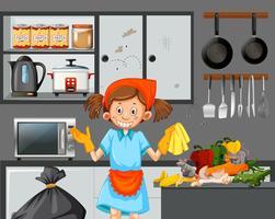 Una cameriera che pulisce una cucina sporca