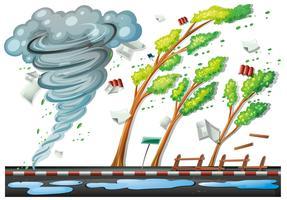 Scena con grande tempesta sulla strada vettore