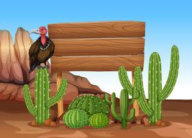 Segno di legno con cactus e avvoltoio vettore