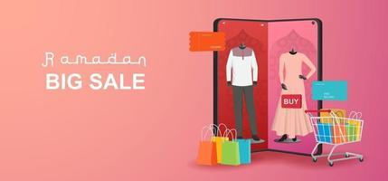 banner di vendita del ramadan, promozione. etichetta tag n del ramadan kareem vettore