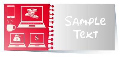 Modello di carta con computer su sfondo rosso vettore