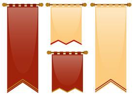 Stile medievale di bandiere in rosso e marrone vettore