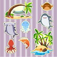 Sticker design dell'isola e pesce