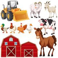 Set di animali da fattoria e fienili