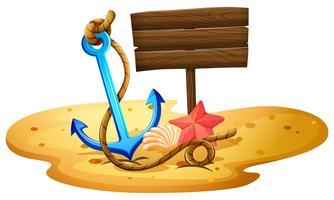 Una spiaggia con un'ancora e un'insegna vuota vettore