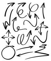 Doodles di design di diverse frecce vettore