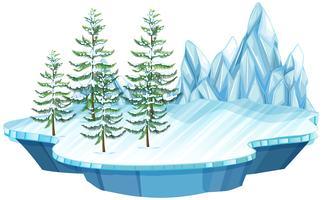 Isola galleggiante di ghiaccio e neve vettore