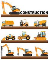 Diversi tipi di camion di costruzione sul terreno vettore