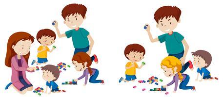 Set di famiglia che gioca con i blocchi vettore