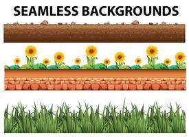 Sfondo senza soluzione di continuità con i girasoli e l'erba vettore