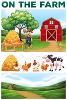 Agricoltore e animali nella fattoria vettore