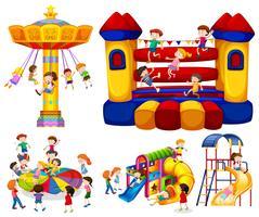 Bambini che giocano su giostre diverse vettore