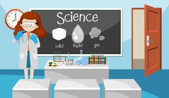 Insegnante nella classe di scienze vettore