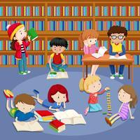 Molti bambini che leggono libri in biblioteca vettore