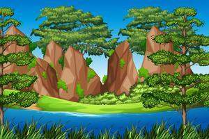 Montagna della roccia nel paesaggio della natura vettore