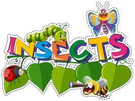 Disegno di parole per insetti con molti insetti sulle foglie
