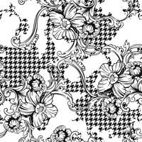 Modello senza cuciture plaid tessuto eclettico con ornamento barocco. vettore