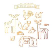 Illustrazioni vettoriali di animali della foresta.