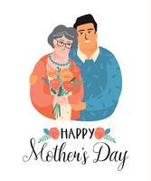 Buona festa della mamma. Illustrazione vettoriale con uomo, donna e fiori.