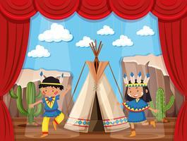 Ragazzo e ragazza che giocano indiani nativi sul palco vettore