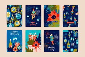 Cartoline di Natale con donne danzanti e simboli di Capodanno. vettore