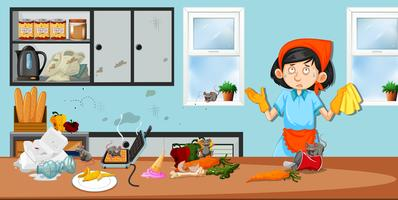 Governante in cucina sporca vettore