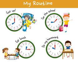 Attività per bambini in diversi momenti della giornata vettore