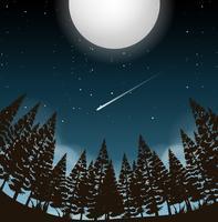 luna piena sopra i boschi vettore