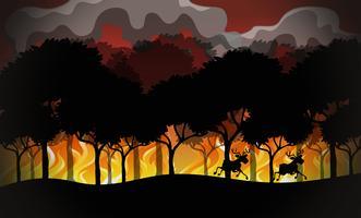 Paesaggio di disastro di wildfire di sagoma vettore