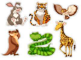 Set di adesivi di animali selvatici vettore