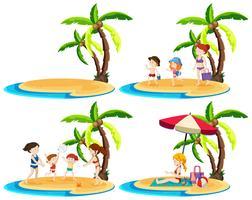 Un set di famiglie sull'isola