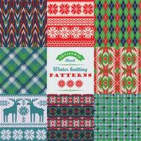 Set di Natale e Capodanno. Backgroun senza cuciture plaid e lavorato a maglia vettore