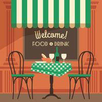 Illustrazione vettoriale moderno design piatto di street cafe.