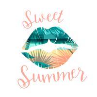 Stampa estiva spiaggia tropicale con slogan per magliette, poster, cartoline e altri usi.