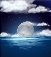 Scena dell'oceano con luna piena di notte