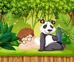 Panda e un ragazzo vettore
