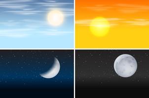 Set di scene diurne e notturne vettore