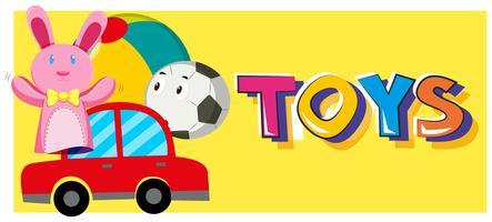 Giochi di parole e diversi tipi di giocattoli vettore