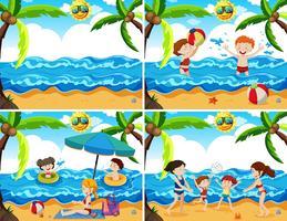 Un set di famiglia in spiaggia