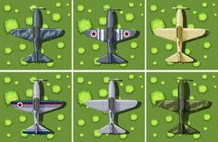 Sei disegni di un aereo militare vettore