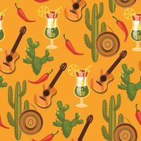 Vector seamless con simboli messicani tradizionali.