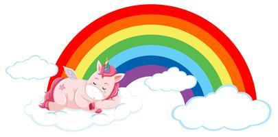 Unicorno rosa sulla nuvola