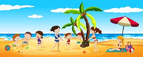 Scena di persone che si divertono in spiaggia vettore