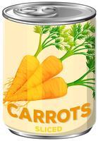 Una lattina di carote affettate