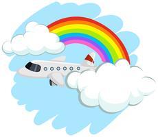 Aeroplano che vola nel cielo vettore