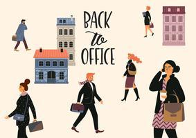 Illustrazione di Vectior di persone che vanno a lavorare.