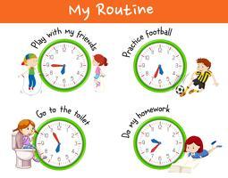 Routine diverse per i bambini vettore