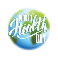 Concetto di giornata mondiale della salute con il pianeta terra. vettore